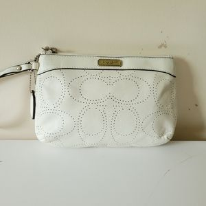 Coach Small Perforated Leather Wristlet